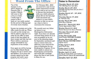 Newsletter – March and April 2018