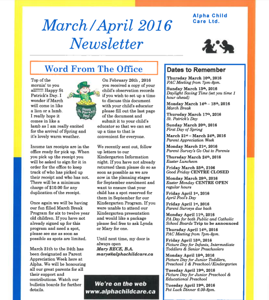 Alpha Child Care News March – April available for download