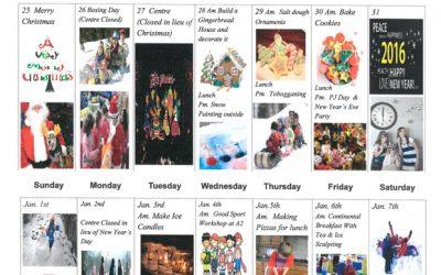 Alpha Child Care Christmas Break Calendar 2016